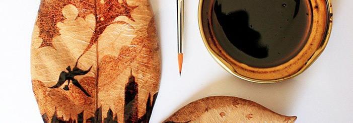 pintura em folhas de café